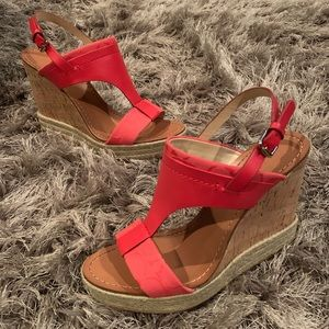 Coach Signature Canvas & Leather Mendez Wedges